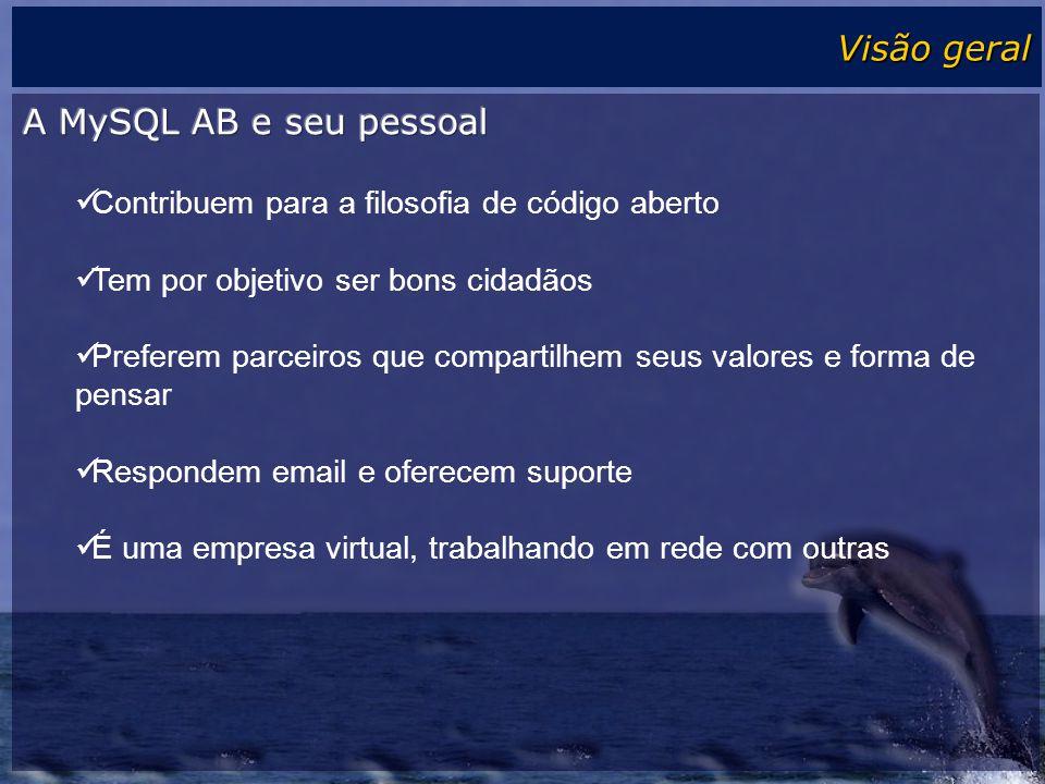 Visão geral A MySQL AB e seu pessoal