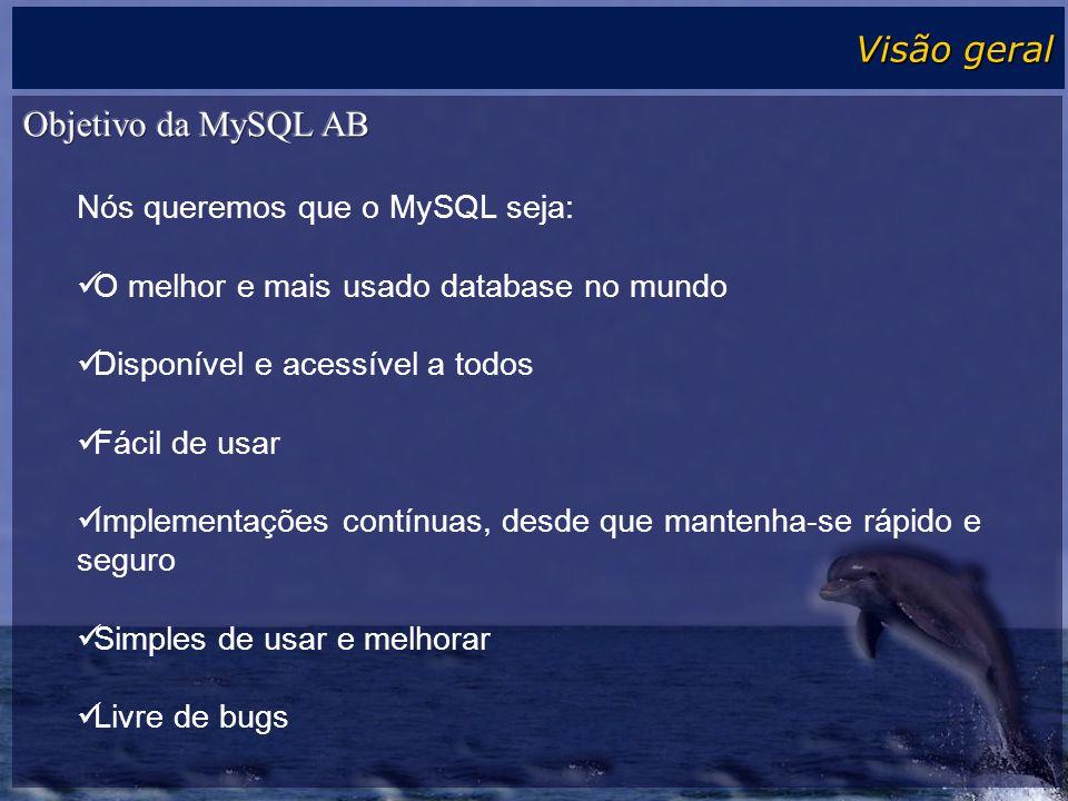 Visão geral Objetivo da MySQL AB Nós queremos que o MySQL seja:
