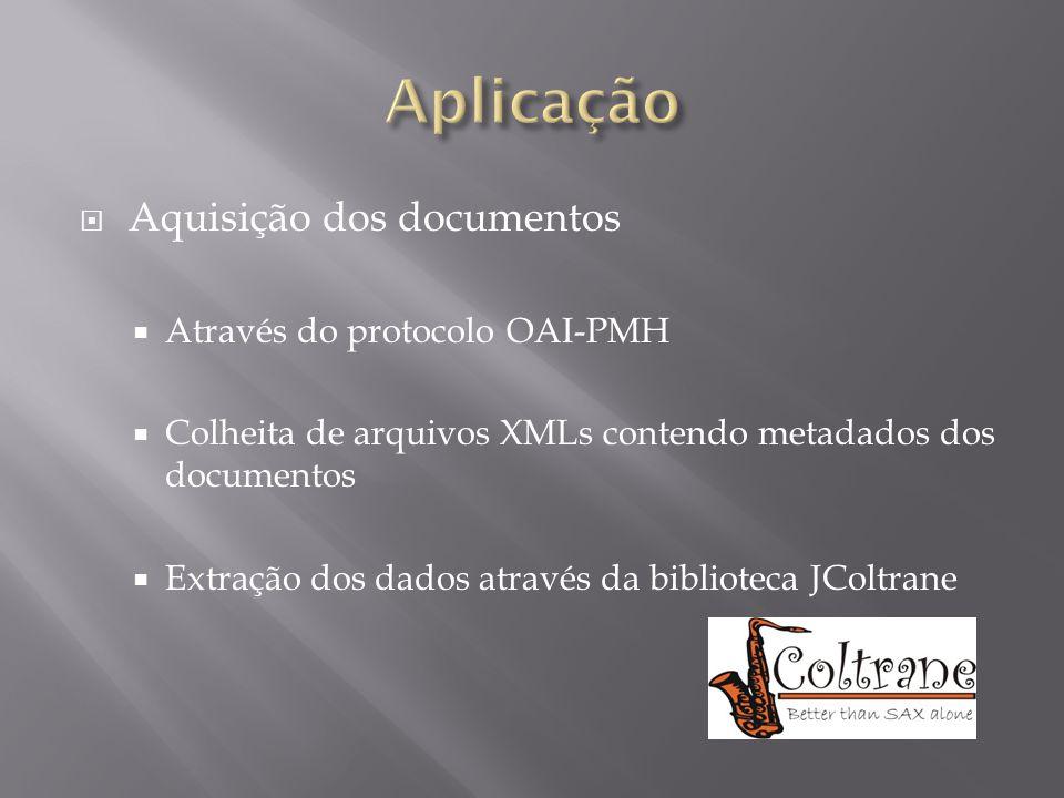 Aplicação Aquisição dos documentos Através do protocolo OAI-PMH