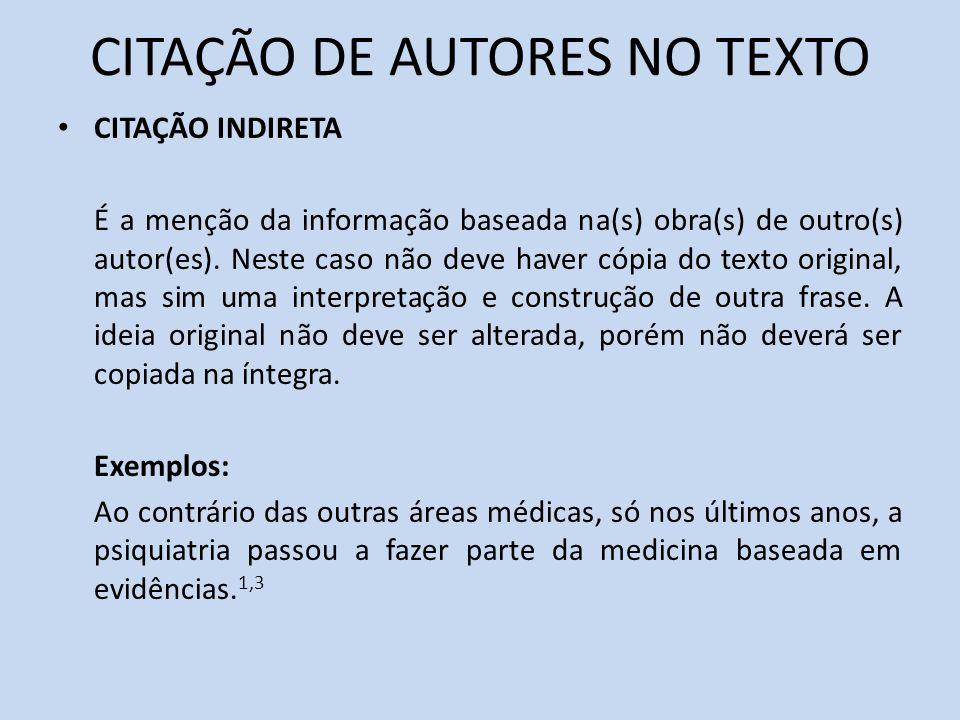 CITAÇÃO DE AUTORES NO TEXTO