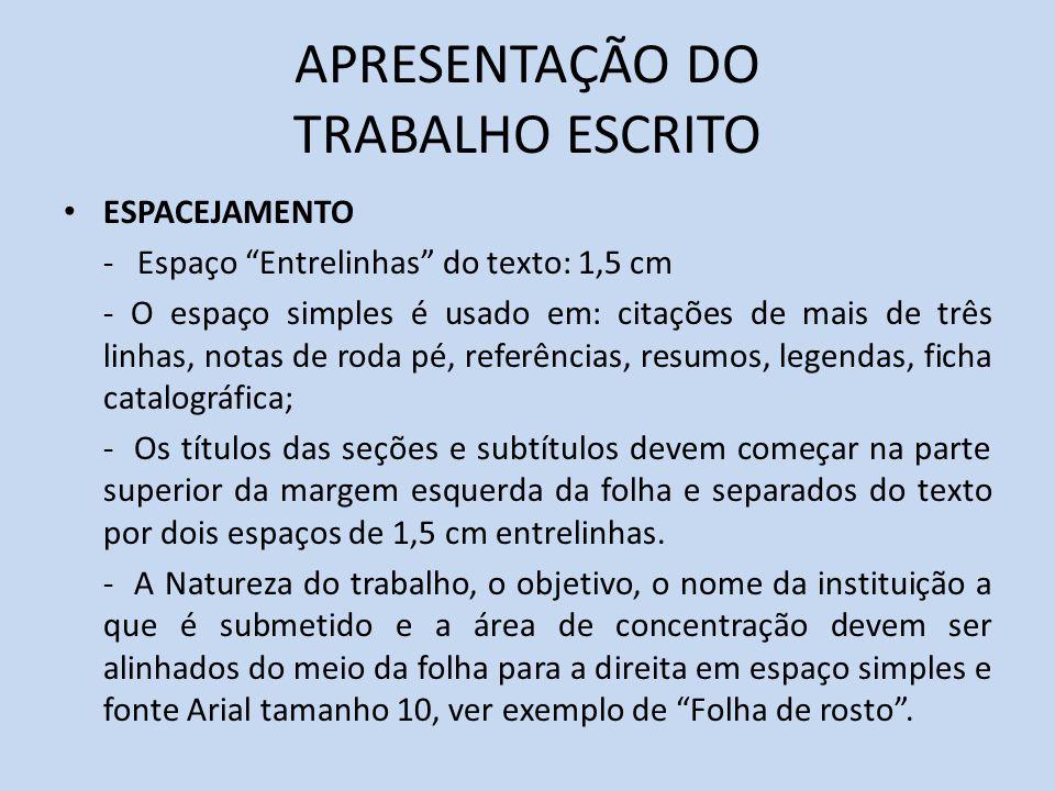 APRESENTAÇÃO DO TRABALHO ESCRITO