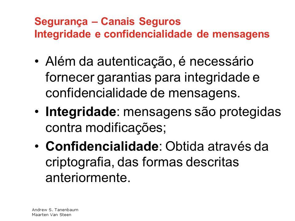 Integridade: mensagens são protegidas contra modificações;