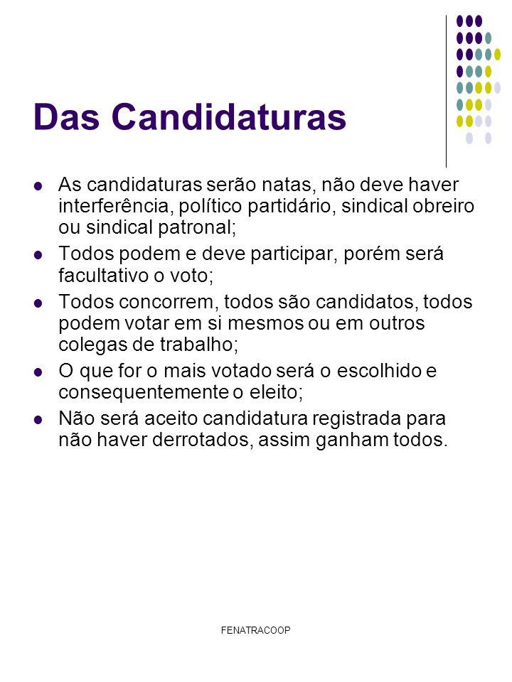 Das Candidaturas As candidaturas serão natas, não deve haver interferência, político partidário, sindical obreiro ou sindical patronal;
