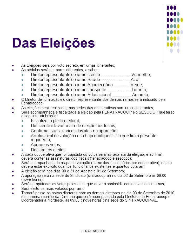 Das Eleições As Eleições será por voto secreto, em urnas itinerantes; As cédulas será por cores diferentes, a saber: