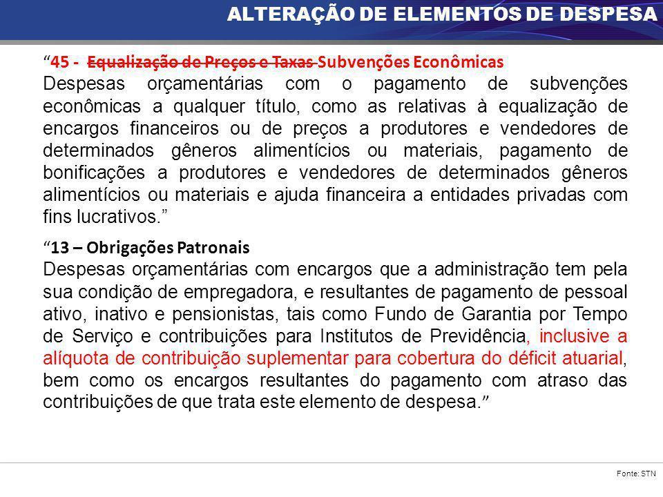 ALTERAÇÃO DE ELEMENTOS DE DESPESA