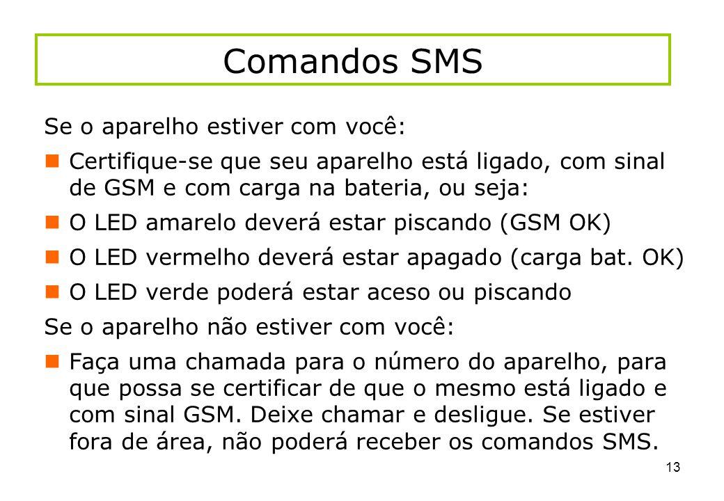 Comandos SMS Se o aparelho estiver com você: