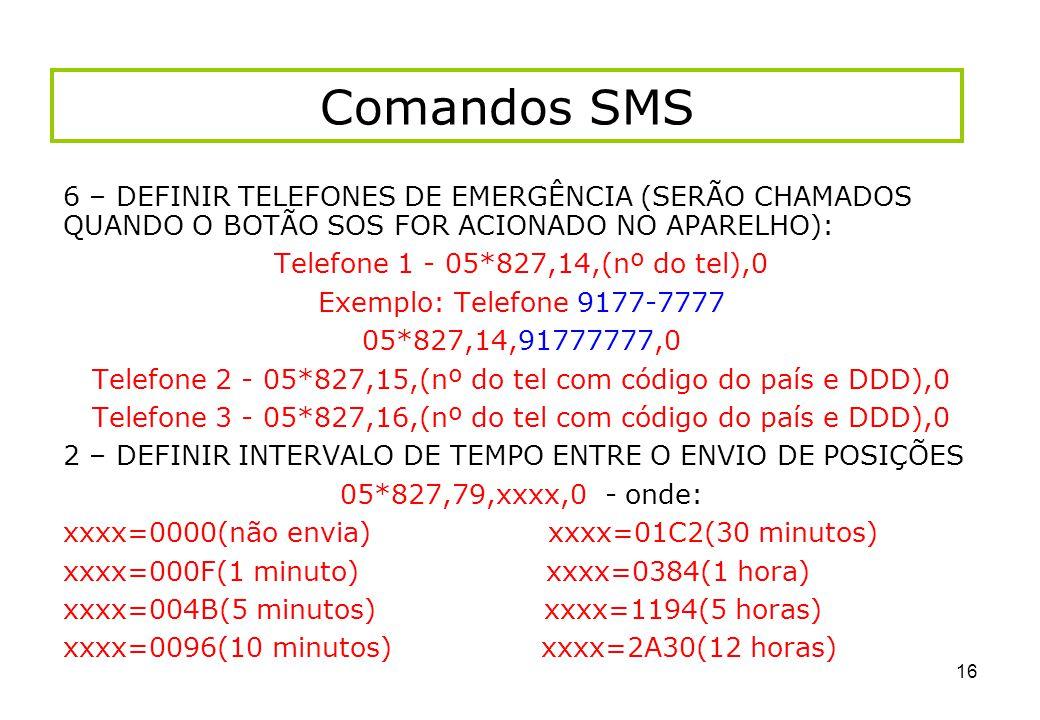 Comandos SMS 6 – DEFINIR TELEFONES DE EMERGÊNCIA (SERÃO CHAMADOS QUANDO O BOTÃO SOS FOR ACIONADO NO APARELHO):