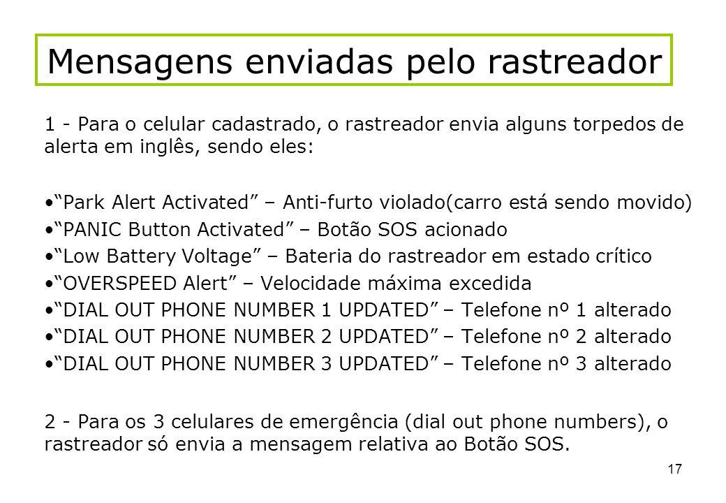 Mensagens enviadas pelo rastreador