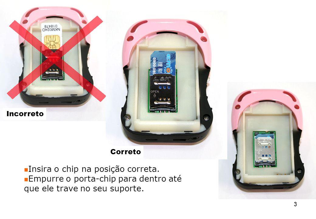 Insira o chip na posição correta. Empurre o porta-chip para dentro até