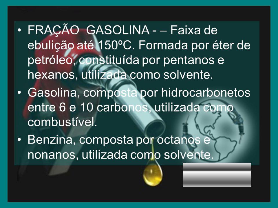 FRAÇÃO GASOLINA - – Faixa de ebulição até 150ºC