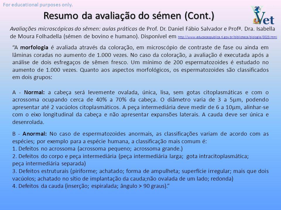 Resumo da avaliação do sémen (Cont.)