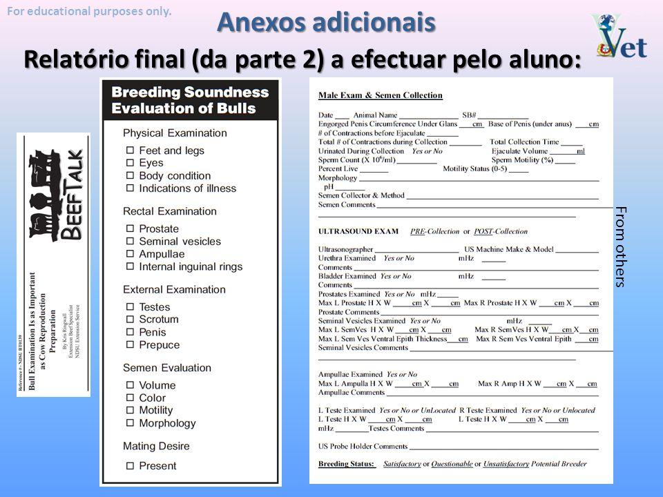 Anexos adicionais Relatório final (da parte 2) a efectuar pelo aluno: