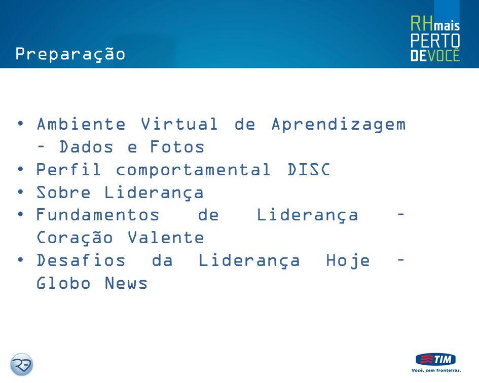 Preparação Ambiente Virtual de Aprendizagem – Dados e Fotos. Perfil comportamental DISC. Sobre Liderança.