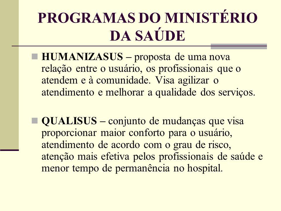 PROGRAMAS DO MINISTÉRIO DA SAÚDE