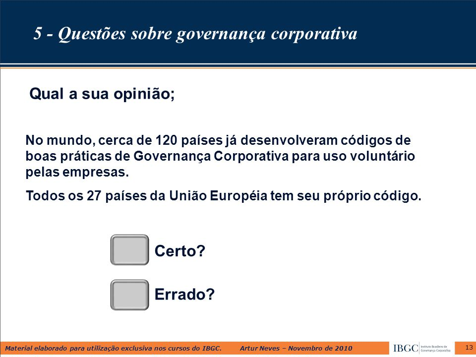 5 - Questões sobre governança corporativa