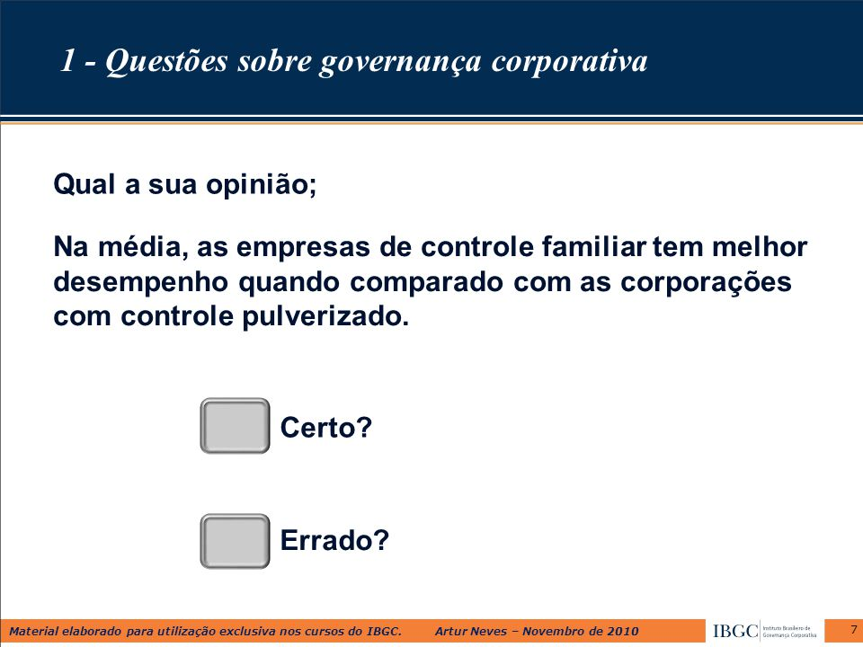 1 - Questões sobre governança corporativa