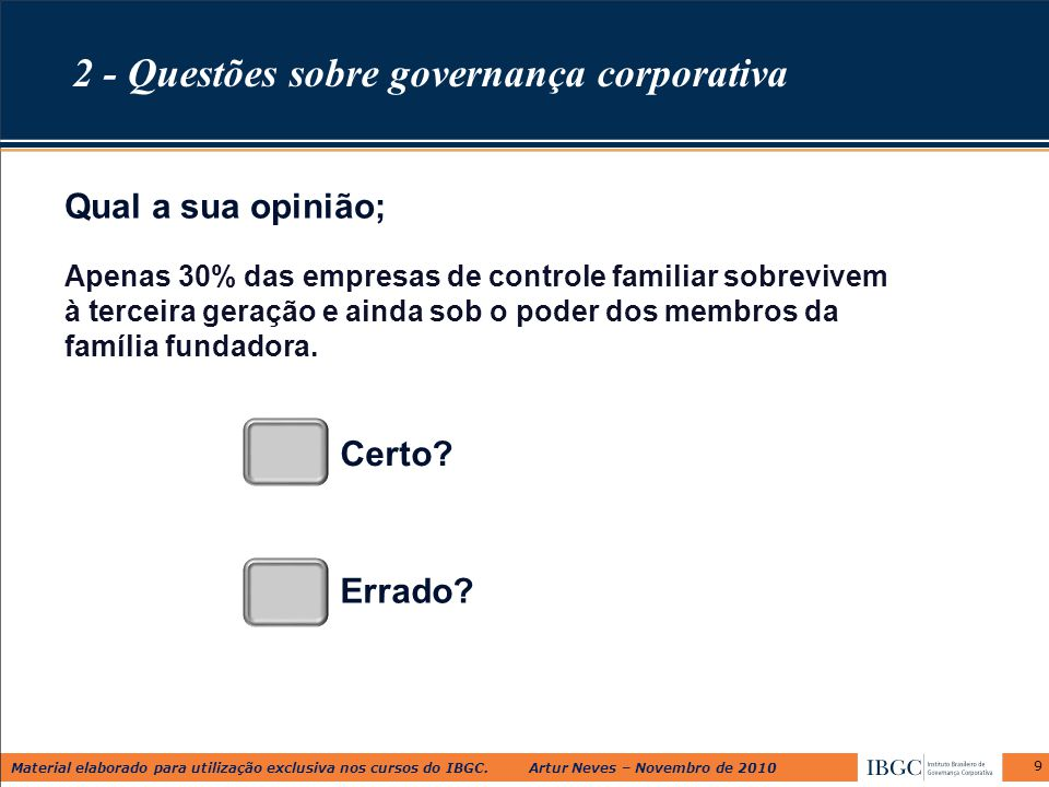 2 - Questões sobre governança corporativa