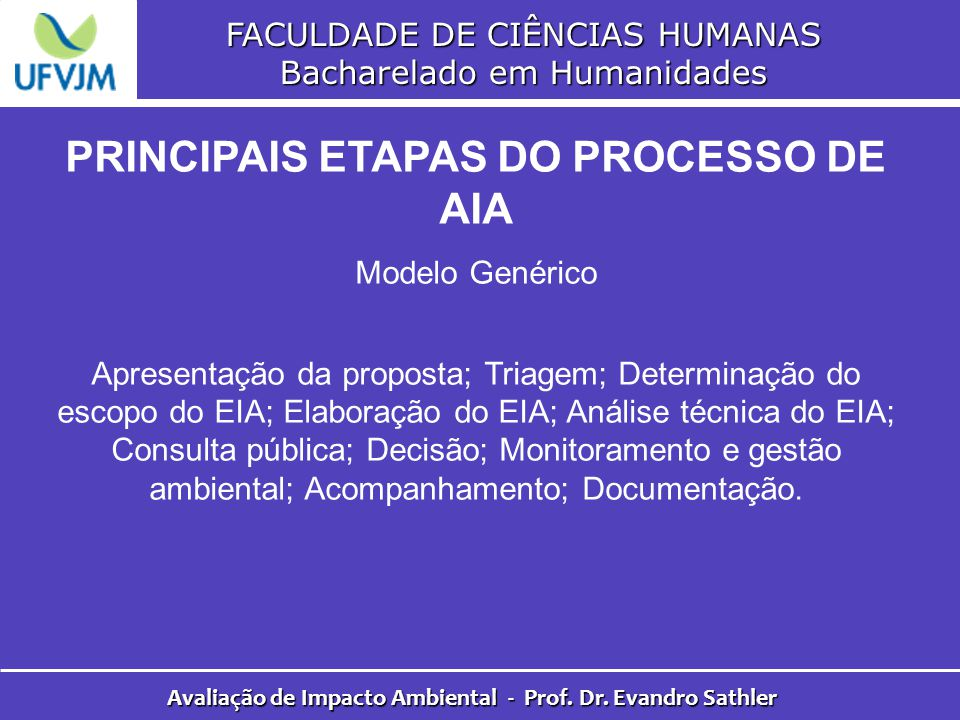PRINCIPAIS ETAPAS DO PROCESSO DE AIA