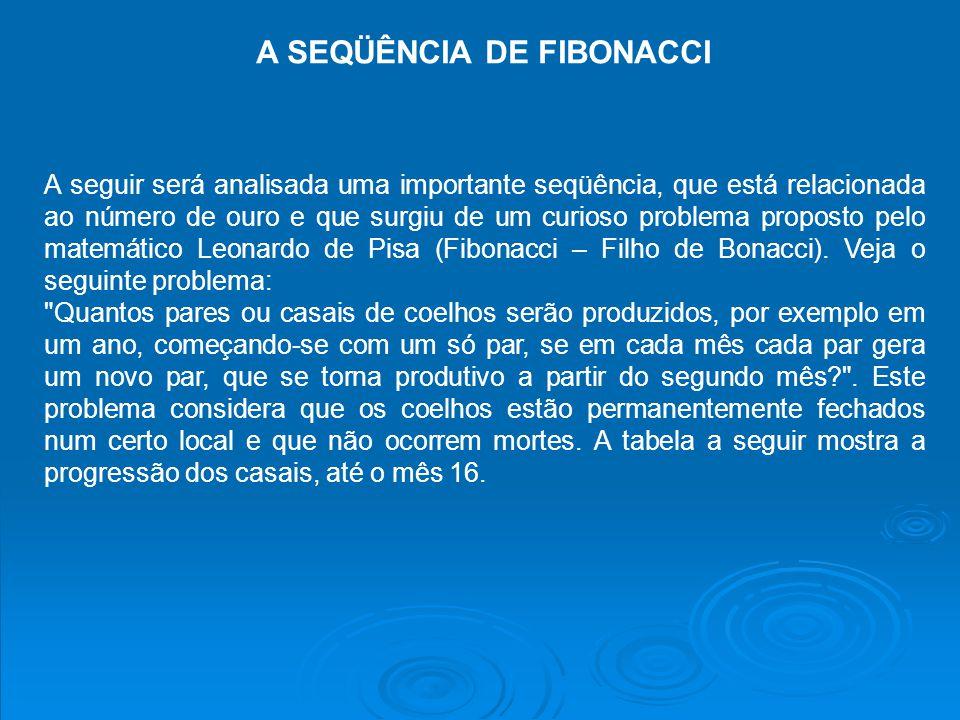 A SEQÜÊNCIA DE FIBONACCI