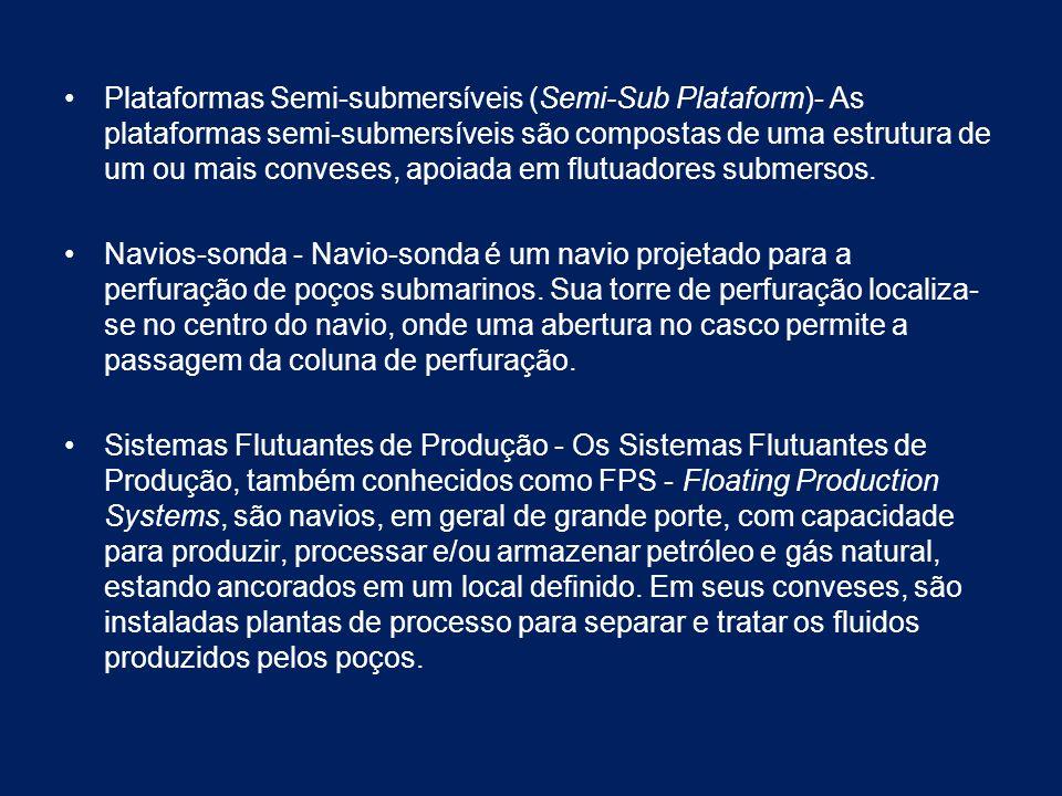 Plataformas Semi-submersíveis (Semi-Sub Plataform)- As plataformas semi-submersíveis são compostas de uma estrutura de um ou mais conveses, apoiada em flutuadores submersos.
