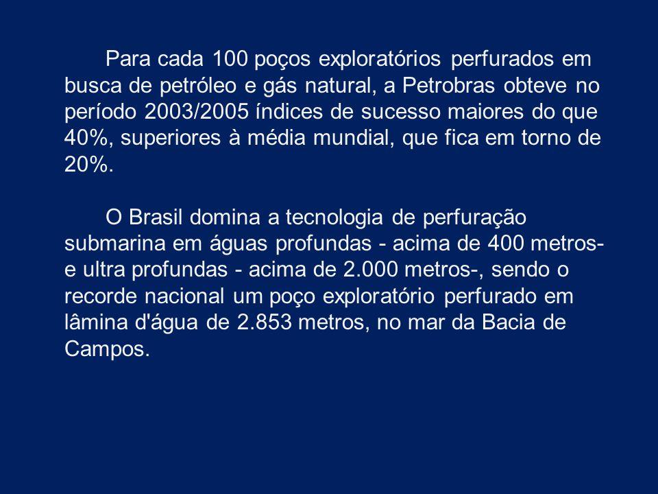 Para cada 100 poços exploratórios perfurados em busca de petróleo e gás natural, a Petrobras obteve no período 2003/2005 índices de sucesso maiores do que 40%, superiores à média mundial, que fica em torno de 20%.