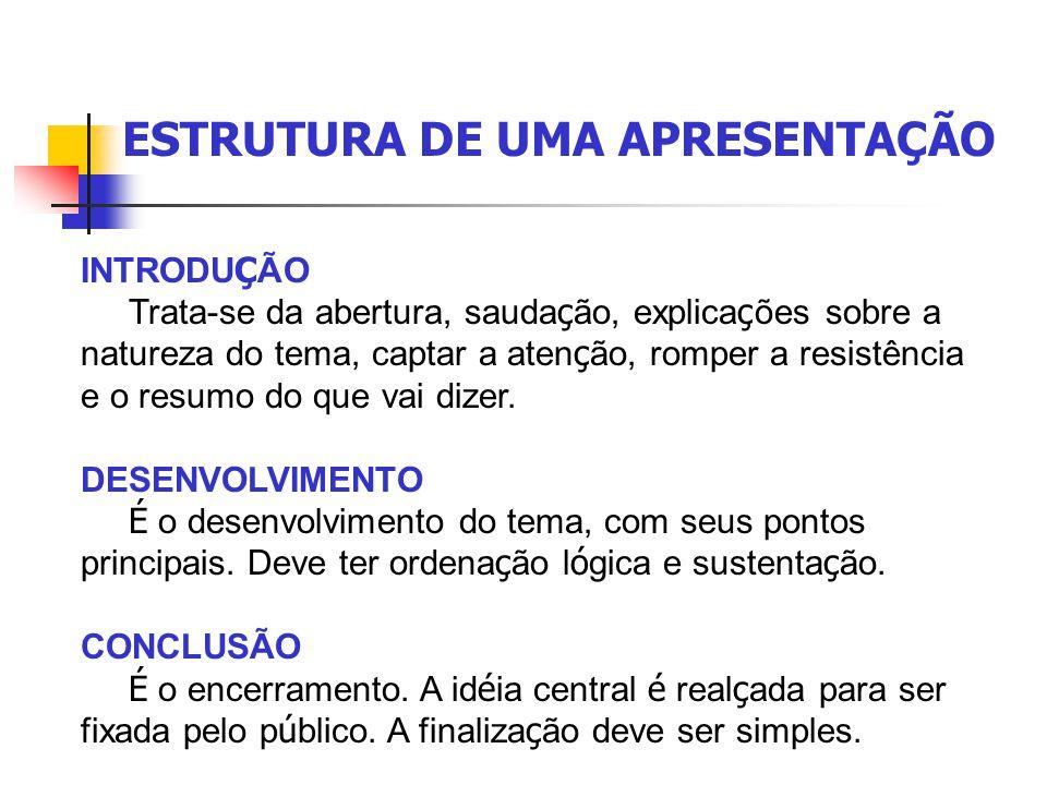 ESTRUTURA DE UMA APRESENTAÇÃO