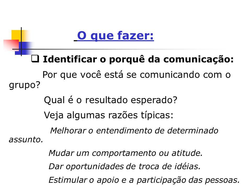 O que fazer: q Identificar o porquê da comunicação: