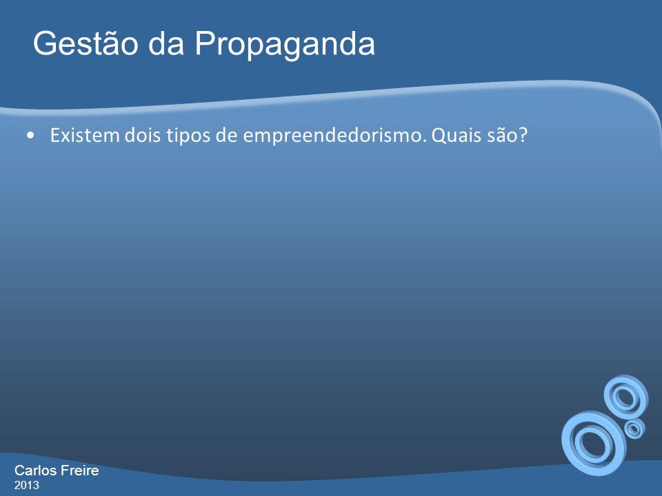 Gestão da Propaganda Existem dois tipos de empreendedorismo. Quais são Carlos Freire 2013