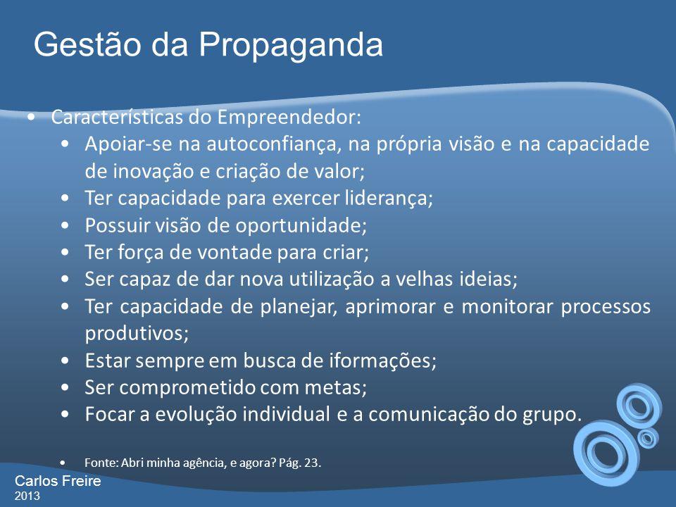 Gestão da Propaganda Características do Empreendedor:
