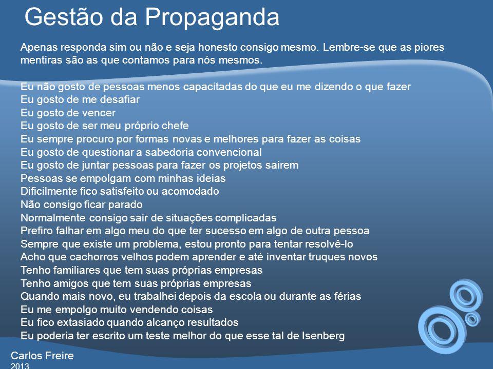 Gestão da Propaganda Apenas responda sim ou não e seja honesto consigo mesmo. Lembre-se que as piores mentiras são as que contamos para nós mesmos.