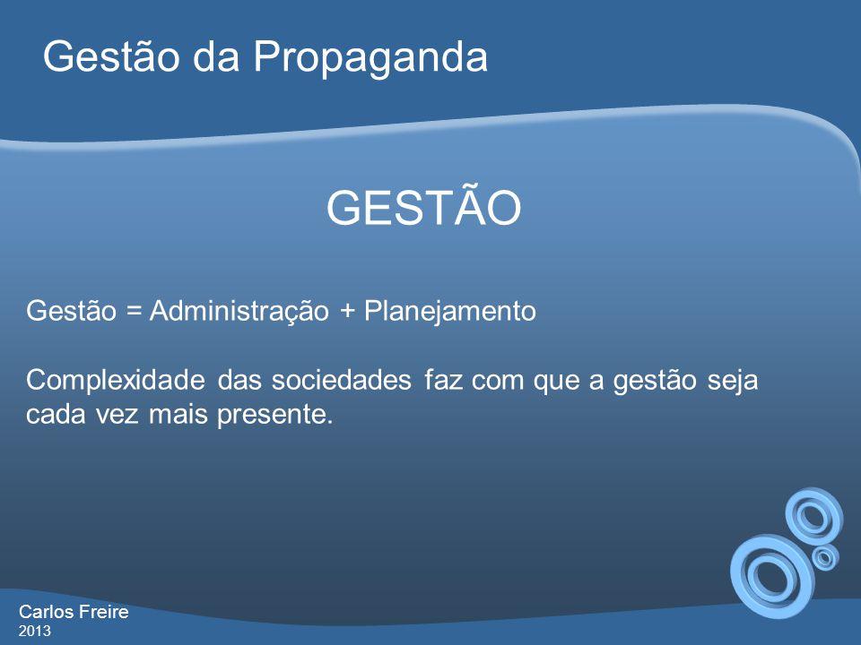 GESTÃO Gestão da Propaganda Gestão = Administração + Planejamento