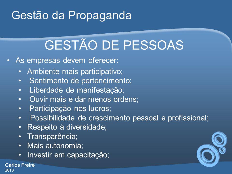 GESTÃO DE PESSOAS Gestão da Propaganda As empresas devem oferecer: