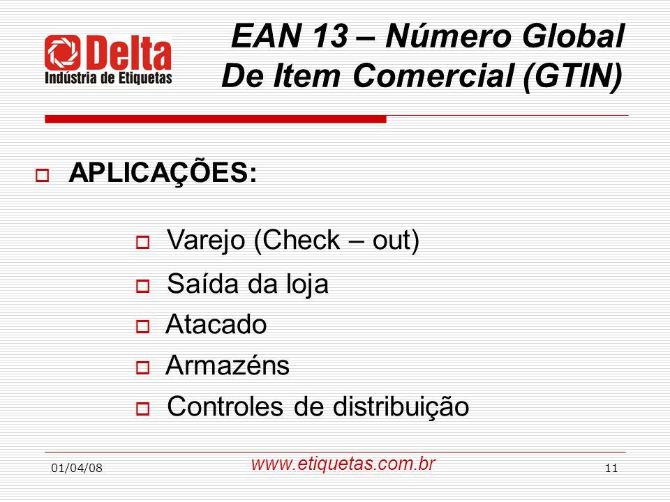EAN 13 – Número Global De Item Comercial (GTIN)