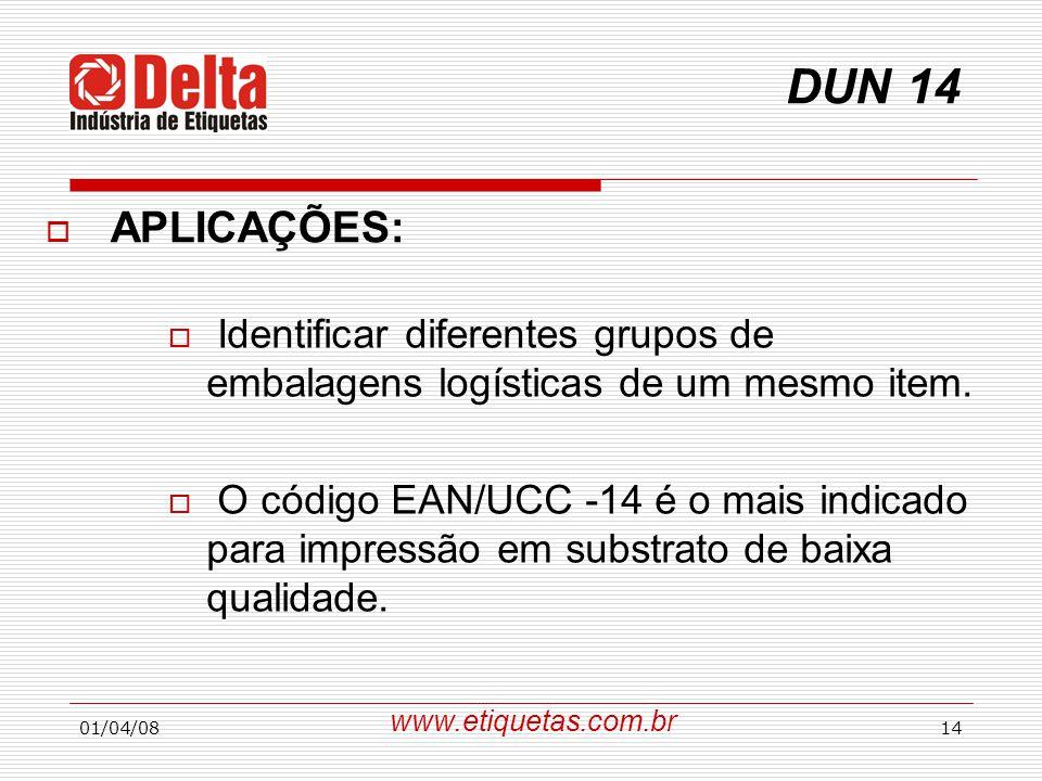 DUN 14 APLICAÇÕES: Identificar diferentes grupos de embalagens logísticas de um mesmo item.
