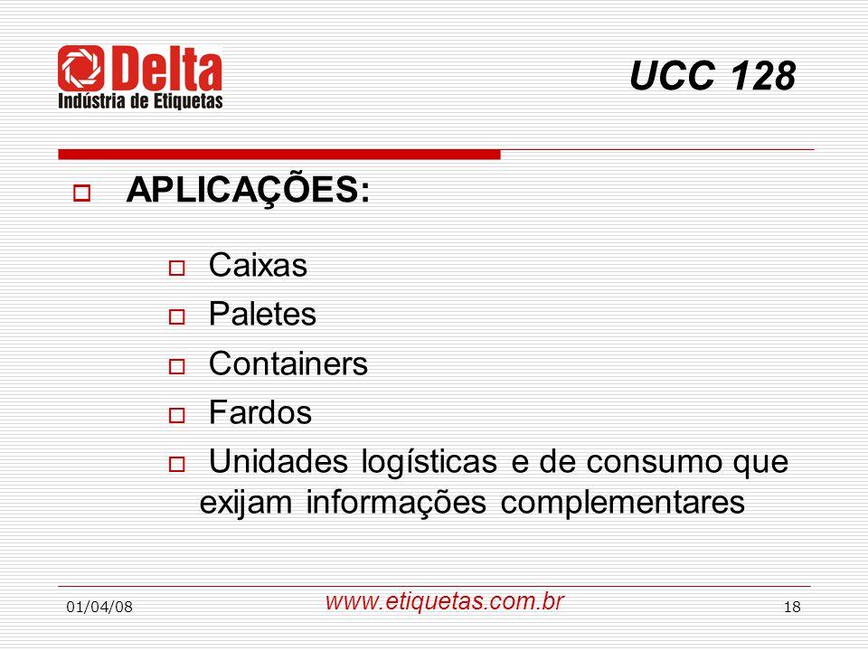 UCC 128 APLICAÇÕES: Caixas Paletes Containers Fardos