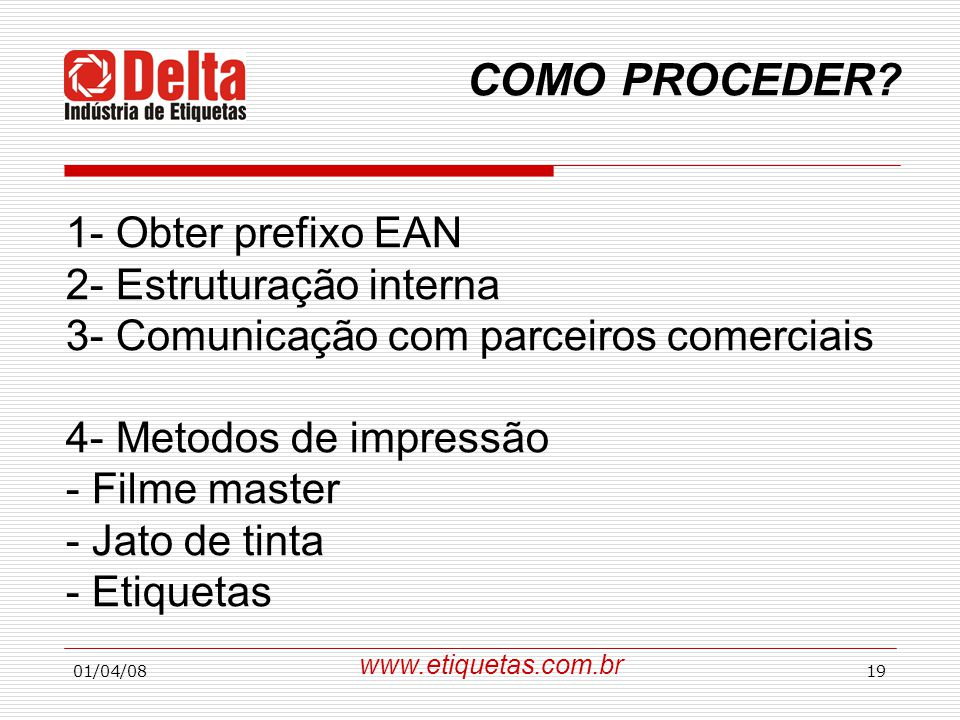COMO PROCEDER 1- Obter prefixo EAN 2- Estruturação interna