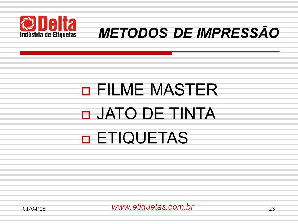 FILME MASTER JATO DE TINTA ETIQUETAS METODOS DE IMPRESSÃO