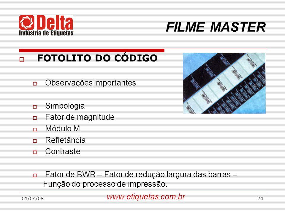 FILME MASTER FOTOLITO DO CÓDIGO Observações importantes Simbologia