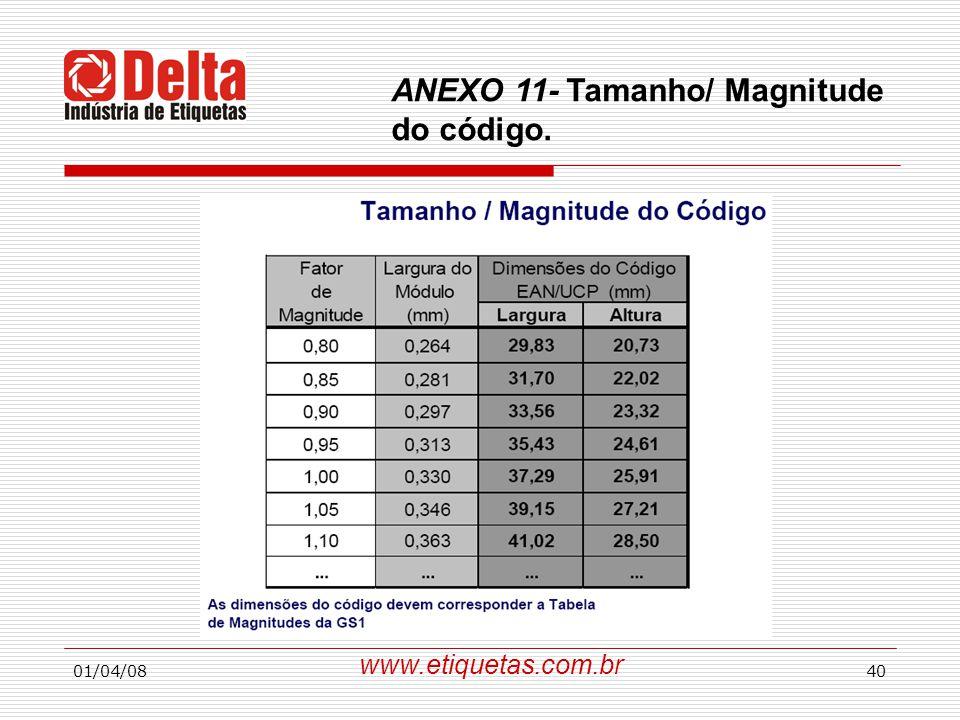 ANEXO 11- Tamanho/ Magnitude do código.