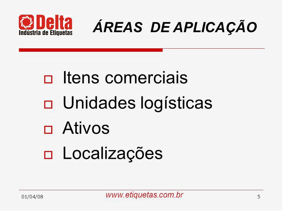 Itens comerciais Unidades logísticas Ativos Localizações