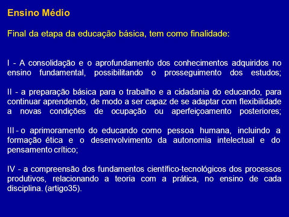 Ensino Médio Final da etapa da educação básica, tem como finalidade: