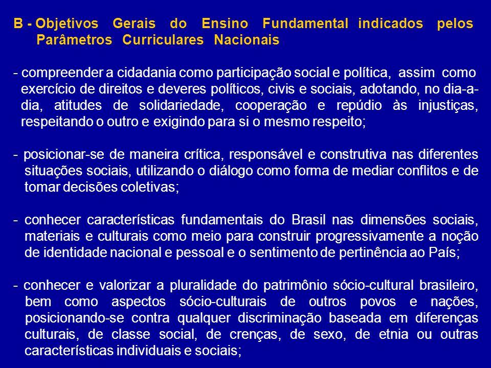 B - Objetivos Gerais do Ensino Fundamental indicados pelos Parâmetros Curriculares Nacionais