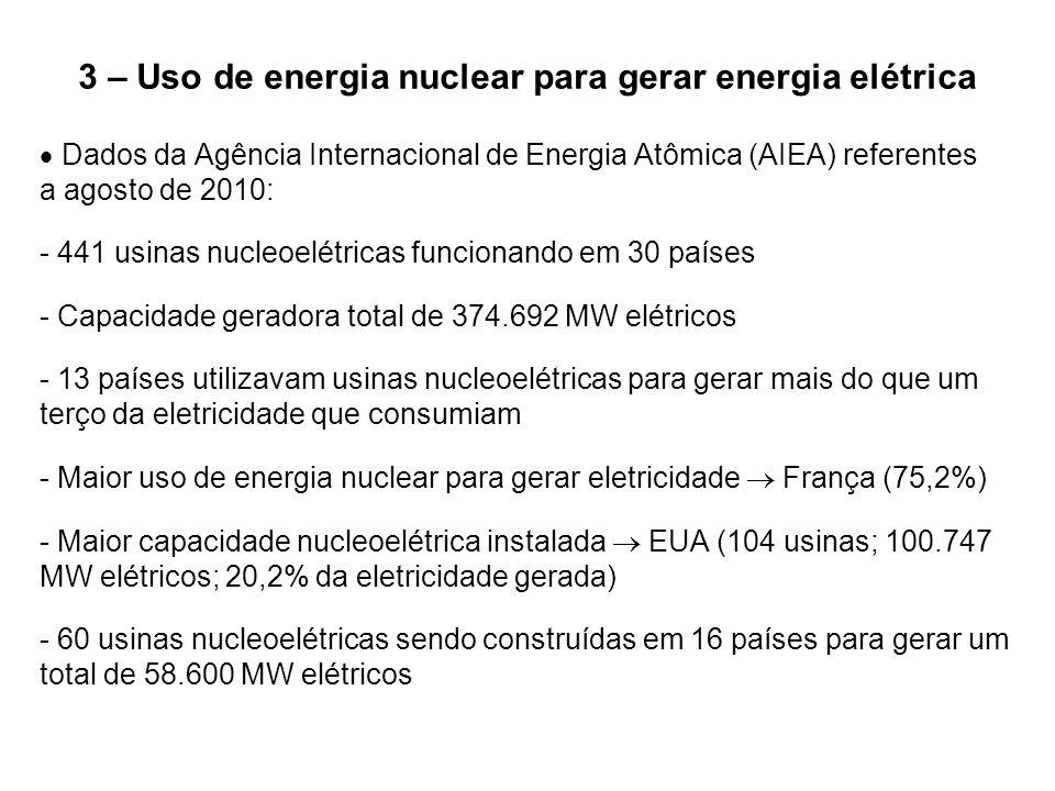 3 – Uso de energia nuclear para gerar energia elétrica