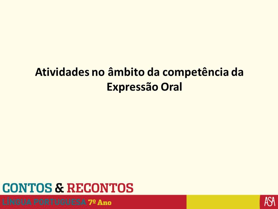 Atividades no âmbito da competência da Expressão Oral