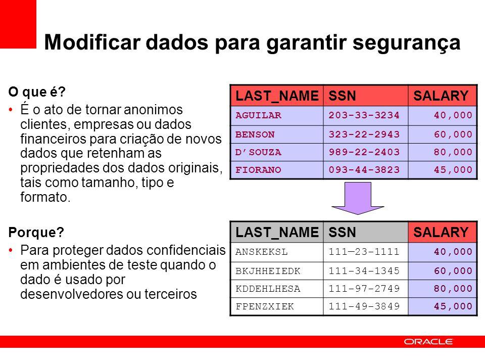 Modificar dados para garantir segurança