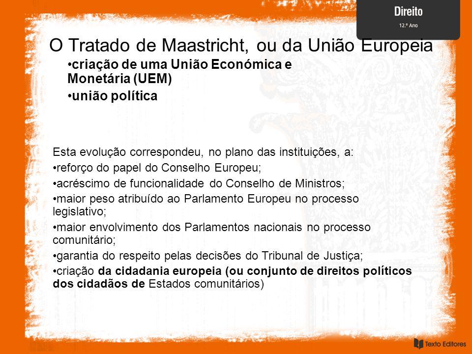 O Tratado de Maastricht, ou da União Europeia