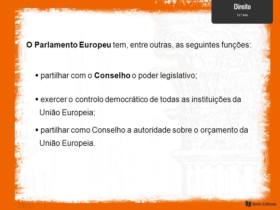 O Parlamento Europeu tem, entre outras, as seguintes funções: