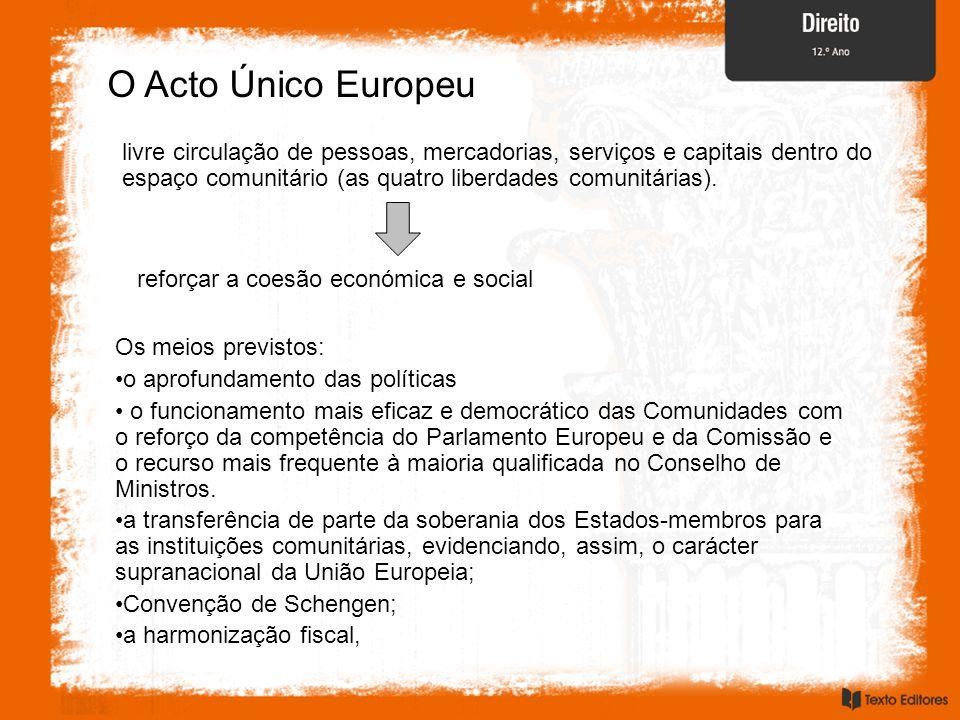 O Acto Único Europeu livre circulação de pessoas, mercadorias, serviços e capitais dentro do espaço comunitário (as quatro liberdades comunitárias).