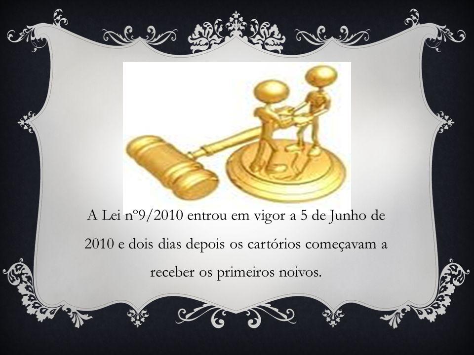 A Lei nº9/2010 entrou em vigor a 5 de Junho de 2010 e dois dias depois os cartórios começavam a receber os primeiros noivos.