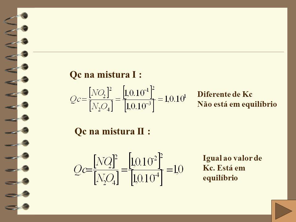 Qc na mistura I : Qc na mistura II : Diferente de Kc
